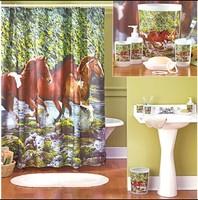 E-home Horse figure brown horse quality terylene flower print waterproof shower curtain 180 0