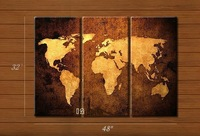 3Panel Vintage Large World Map handmade oil painting Wall Decoration on canvas for living room 40*80*3cm