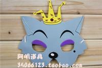 free shipping 10pcs/lot 10g masquerade halloween supplies child cartoon eva mask - red wolf mask