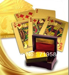 Free shipping 24K gold plated playing cards, Gold foil poker with wooden box 1piece(China (Mainland))