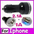 Universal Micro Double USB Port Car Charger For IPhone 4 4G 4GS 4S 3G IPad 3 Samsung S2 S3 2.1A 2A Mini Dual