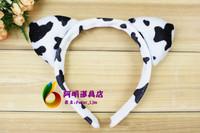 free shipping 6pcs/lot 20g halloweenish ball animal hair accessory headband - cow ears headband