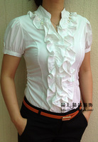 All-match ol slim stand collar ruffle short-sleeve women's  office body shirt