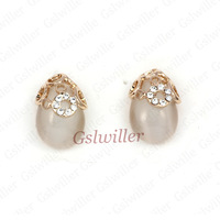 Free Shipping Italina Rigant fashion jewelry 2013 wholesale 18K Rose Gold Plated Cymophane Earrings novelty gift