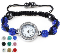 free ship 2013 ladies women Shamballa Bracelets watch Crystal beads clay rhinestones vintage wristwatches 10colours