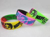 "NEFF Smile Face rubber bracelet, siliocn wristband, 1"" wide band, 3colours, 50pcs/lot, free shipping"