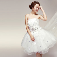 wedding formal dress fashion cute low-high tube top short wedding dress bride white bandage