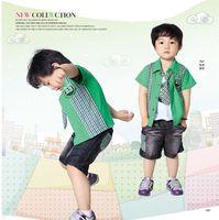 2012 summer infant set tie summer children's clothing three piece set vest shirt shorts free shipping