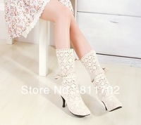 Concise cotton flowers dustproof ventilation breathable high-heeled women's cotton net female cool boots, free shipping