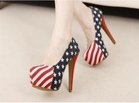 HOT 14cm Fashion Sexy Party Pumps Shoes American Flag Stiletto platform High Heels Blue free shipping