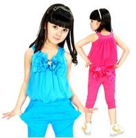 Children's clothing female child summer child harem pants spaghetti strap vest bow casual sports set free shipping