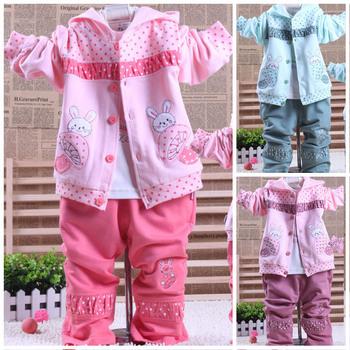 2013 spring children's clothing boy child infant clothes female child mushroom rabbit spring and autumn three piece set