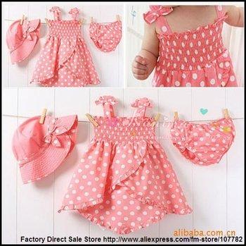 Cotton Children Clothing Set Baby Wear Kids Infant Suit Girls Dress+ Cap+Underpant Crazy Sale 5 set a lot