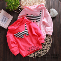 white 100-105cm pink 90-95-100-105cm 2013 spring girls clothing 100% cotton with a hood sweatshirt baby long-sleeve T-shirt