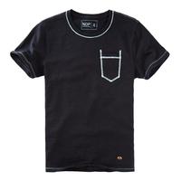 Nop male short-sleeve o-neck T-shirt color block line bamboo short t