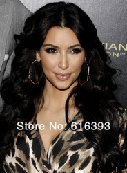 Human Hair Wigs Wholesale Kim Kardashian Long Wave Sexy Black 100%human hair Indian Remy Lace Front Wigs(China (Mainland))