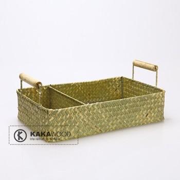 Kakawood handmade products natural rattan straw braid bamboo miscellaneously tableware storage basket wood handle