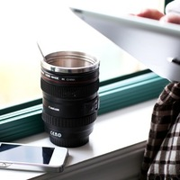 2013 Freeshipping hermal stainless steel liner travel Coffee camera lens mug cup with transparent lid  caniam not canon