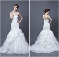 Beautiful sexy strapless beads fold sweep train ruffle applique white bridal wedding dresses tulle