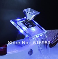 Color Changing LED Waterfall Bathroom Sink Faucets (Glass Handle) NB-108