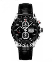 Brand Watches Luxury 12 LS CHRONOGRAPH NEW Black Men's Dial Black leather Fashion watch with gift box cool mens watches