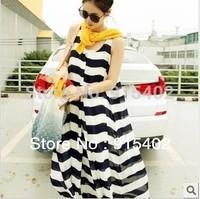 2014 New Arival Chiffon Maternity Dresses Summer Maternity Skirts Big Stripe One Piece Dress BB20