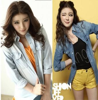 Coat women new 2015 sale Ruili temperament Slim classic brush color denim shirt long-sleeved single-breasted denim jacket 8600