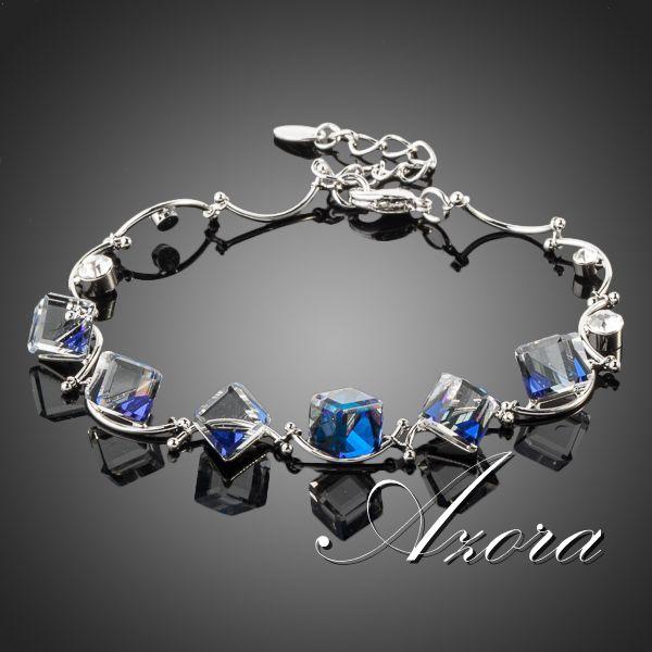 AZORA Platinum Plated 6pcs Bule Cube Stellux Austrian Crystal Charm Bracelet TS0016(China (Mainland))