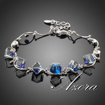 Platinum Plated 6pcs Bule Cube SWA ELEMENTS Austrian Crystal Charm Bracelet !(Azora ...