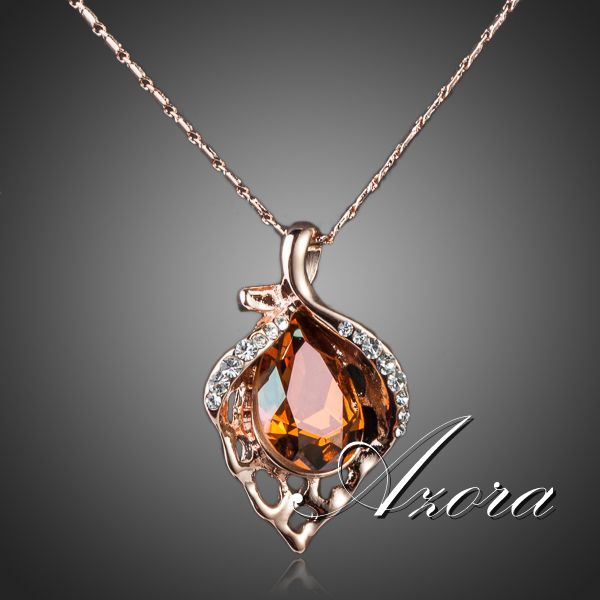 18K Rose Gold Plated Unique Design with Citrine Cubic Zirconia Flower Heart Pendant Necklace FREE SHIPPING!(Azora TN0076)(China (Mainland))