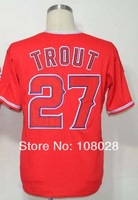 Free Shipping #27 Mike Trout Men's Baseball Jersey,Sports Jersey,Embroidery logos,Size 48--56,Accept Mix Order