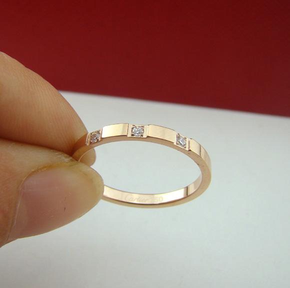 Sparkling small 14k rose gold women's slender pinky ring index finger ring