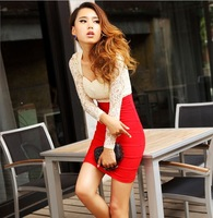 Free Shipping Summer New Women full Sleeve Lace stitching wrap chest high waist Sexy Dress  Holiday Sale
