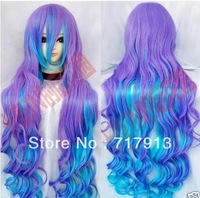 100 cm role playing violet mix of curly hair heat full wig