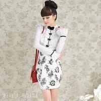 Free shipping Fashion Brand Luxury White Ruffle Black Bow Slim Women's Long-sleeve Shirts Tops Elegant Blouses