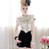 Free shipping Fashion Black Love Print Beige Slim Ruffle Bow Bubble Women's Short-sleeve Shirts Ladies' Tops Blouses