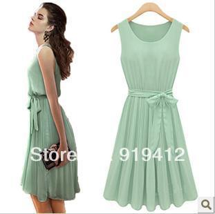 free shipping New casual Womens Chiffon Dress Summer Elegant Sleeveless Pleated Chiffon Vest Dress With Lining light green A52