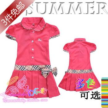 Children's clothing 100% cotton short-sleeve summer princess dress child one-piece dress tennis ball dress