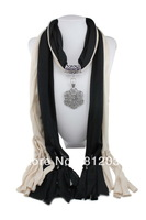 Hot 1pc Retail/Wholesale fashion woman tassels Cotton pashmina wrap scarf Alloy beaded pendant necklace shawl scarves jewelry