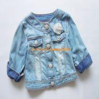 Fashion 2013 children's clothing next female child flower long-sleeve denim outerwear