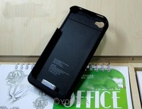 Free shipping Black 1900mah external battery case For iPhone 4 4S 4G Rechargeable Backup Battery Case power Charger 80614