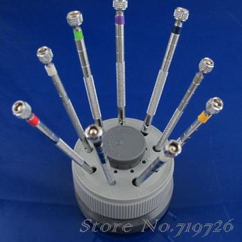 9pcs Watch Repair Screwdriver Tools Set Kit Rotating Stand GJBP0032
