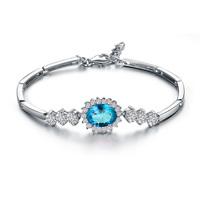 Genuine Aquamarine Bracelet in Sterling Silver