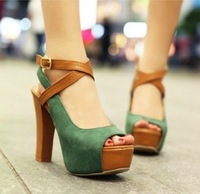 2013 thick heel sexy open toe sandals high-heeled shoes platform color block female shoes Free shipping