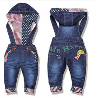 Top Quality Baby Jeans 2014 Fashion Girl / Boy Denim Overalls Infant Trousers Kids Hooded Braces Jeans Retail