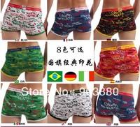 Free shipping High quality flag color design  Modal underpants Men's underwear Boxer Shorts 4pcs/lot