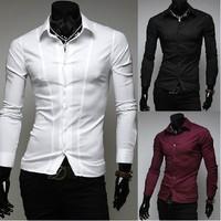 Free Shipping 2014 Mens Slim fit Unique neckline stylish Dress long Sleeve Shirts Mens dress shirts