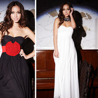 New!! 2013 Fashion Women Long Maxi Dress Casual Beach Dress Low-cut Strapless Black/White for Woman