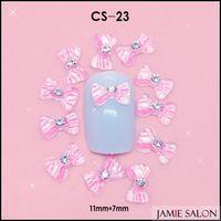 Wholesale 3D Hot Pink Print White Resin Shinny Gemstone Bowknot  Nail Art Decoration Nail Bow 100pcs/lot Size: 11*7mm #CS-23