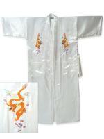 Fashion White Chinese Men's Silk Satin Embroidery Kimono Robe Bath Gown with Dragon M XL XXL XXXL